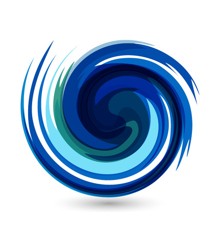 bubbling: Blue waves splash water vector icon card design Illustration