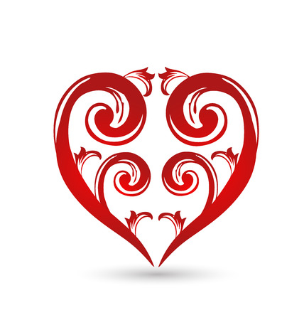 Floral heart love. Valentines Day card Vector