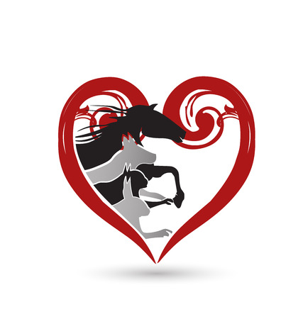 Floral heart with racing pets creative card design Vector