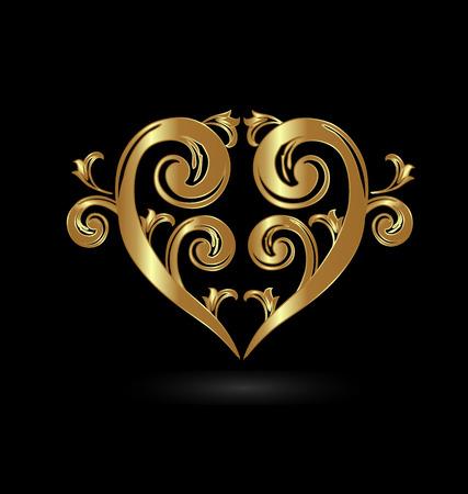 postcard background: Gold floral heart love. Valentines Day card Illustration
