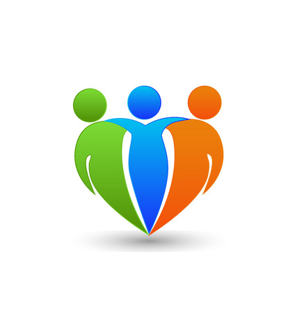 Partners friends teamwork business concept in heart shape