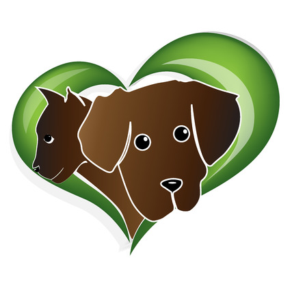 eps picture: Cat dog heads silhouettes in a heart shape green leafs design vector icon Illustration