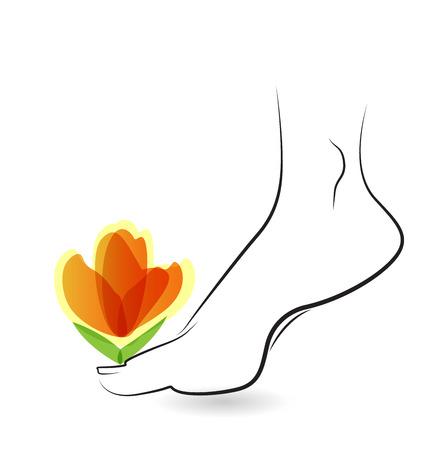 Femme aux pieds nus avec un design fleurs icône de la carte de vecteur Banque d'images - 35368253