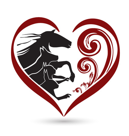 horses in field: Cat dog horse and rabbit silhouettes floral heart shape icon vector