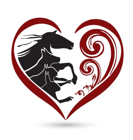 Katze Hund Pferd und Kaninchen Silhouetten floral Herzform Symbol Vektor- Standard-Bild - 35368264
