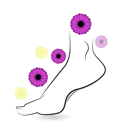 Woman barefoot with flowers icon vector card design