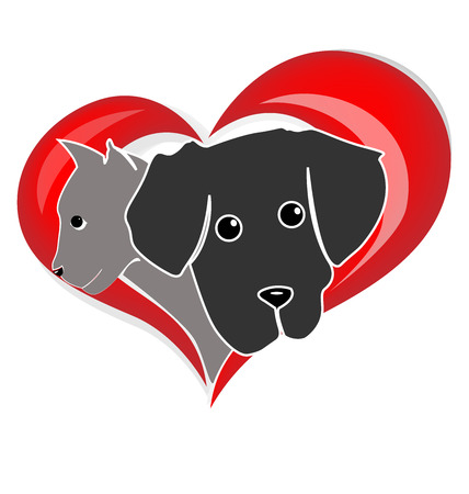 veterinary icon: Cat dog heads silhouettes in a heart shape design vector icon logo design Illustration
