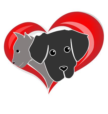 háziállat: Macska kutya fejek sziluettek egy szív alakú kialakítás vector icon logo tervezés