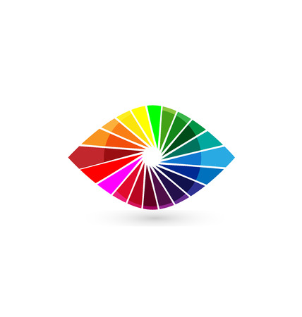 eye drawing: Eye vision colorful shutter icon template. Illustration