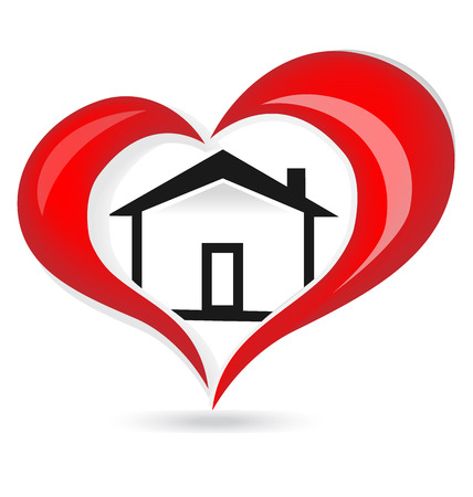 design media love: House and red glowing heart icon.  Illustration