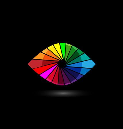 眼的視力多彩快門圖標模板。 向量圖像
