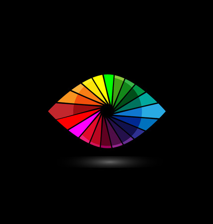 contact lens: Eye vision colorful shutter icon template. Illustration