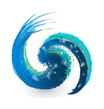 logo informatique: Swirly vague grunge splash, utile pour votre conception (eau, tourbillon, logo)