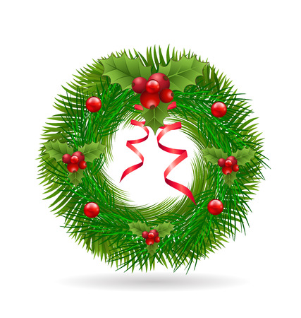 advent wreath: Christmas wreath with red ribbon