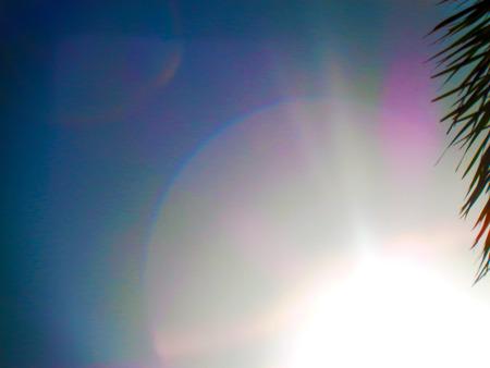 de focus: Beautiful sunrise background with natural bokeh bubbles Stock Photo