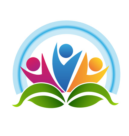 santé: Travail d'équipe personnes feuilles et halo.Concept bleu icône vecteur saine