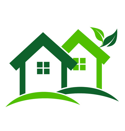 house logo: Green houses real estate business card design vector icon Illustration