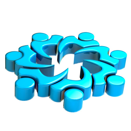 3D blue teamwork people image icon card background photo