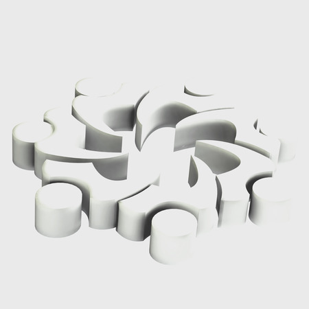 3D white teamwork people image icon card background photo