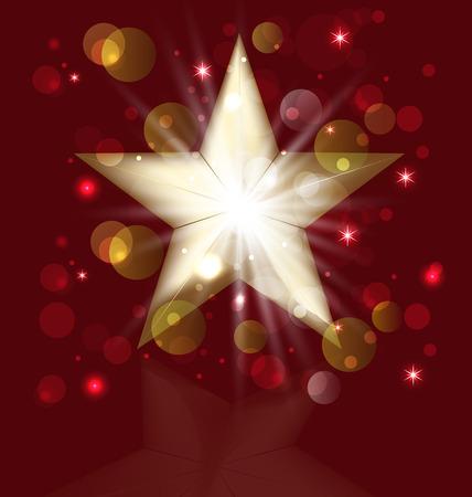 Christmas gold star greeting card vector icon Vector