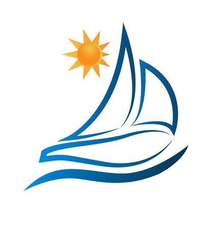 bateau voile: Bateau vagues et du soleil océan cadre de plage image Illustration