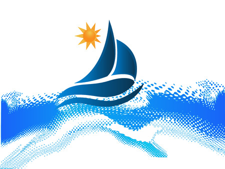 Boat waves and sun ocean beach frame picture vector icon Vector