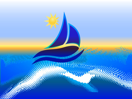 Barco icono de imagen vectorial Marco olas y el sol océano playa