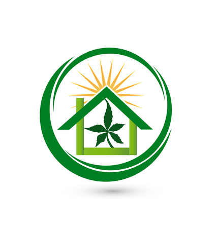 drug dealer: House store - sun with green leaf cannabis plant vector icon logo