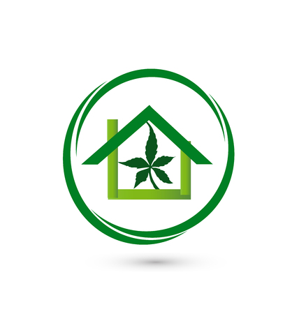 marihuana leaf: House store - leaf cannabis plant vector icon