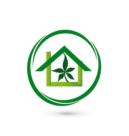 drug addict: House store - leaf cannabis plant vector icon