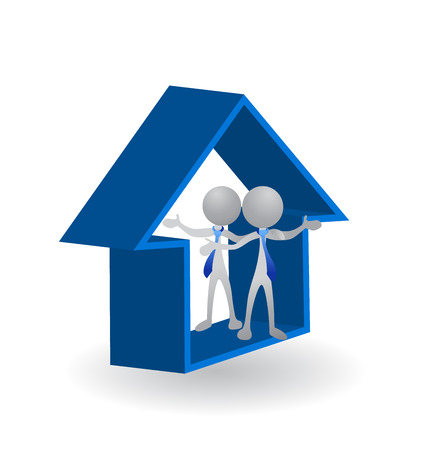 영상: 하우스 - 성공적인 사업 로고를 닫는 부동산 벡터 이미지 개념