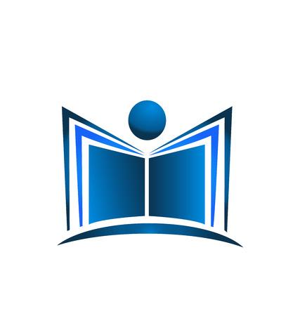 computer education: Book illustration blue figure icon design vector template logo