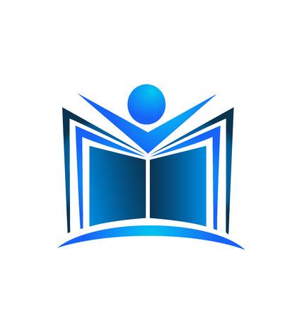 Book illustration blue swoosh icon design vector template logo Vector