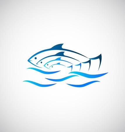 logo poisson: Poisson sur fond mer Illustration