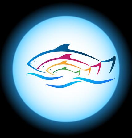 logo poisson: Poisson et le cadre de la mer fond Illustration