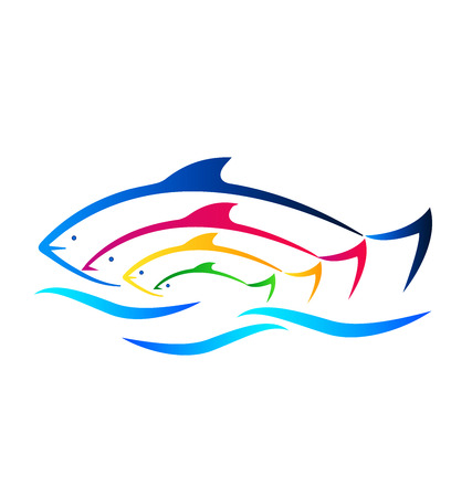 tank fish: Colored fish and sea identity business card