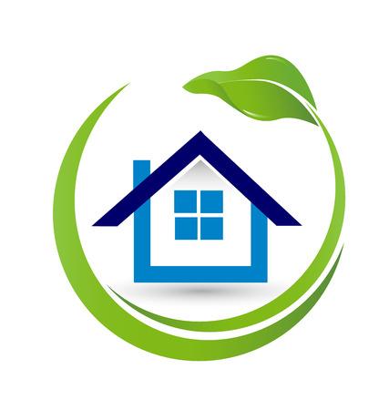 case moderne: Casa e foglia-Real Estate concetto vettore di immagine di chiusura di un logo aziendale di successo Vettoriali