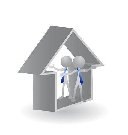 gruppe von menschen: Haus - Immobilien-Vektor-Konzept der Abschluss eines erfolgreichen Business-Logo Illustration