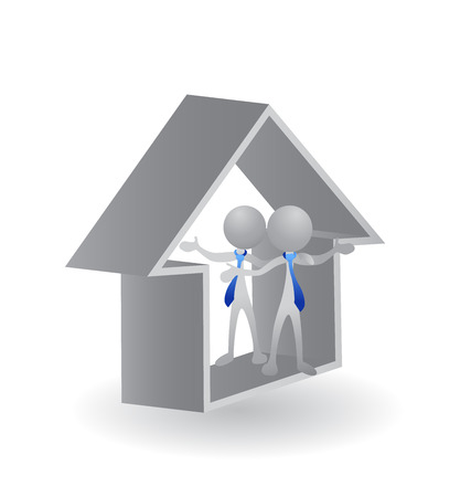 group people: House - Real Estate vector image concept of closing a successful  business logo