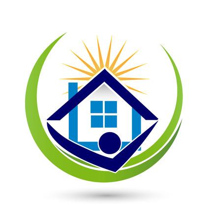 m�nner business: Haus Sonnen Agenten Immobilien Bild Vektor-Konzept der Schlie�ung eines erfolgreichen Unternehmens-Logo Illustration