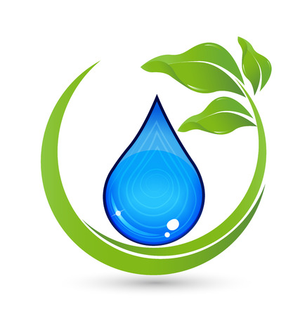 blue waves vector: Drop of Water with green leafs vector icon