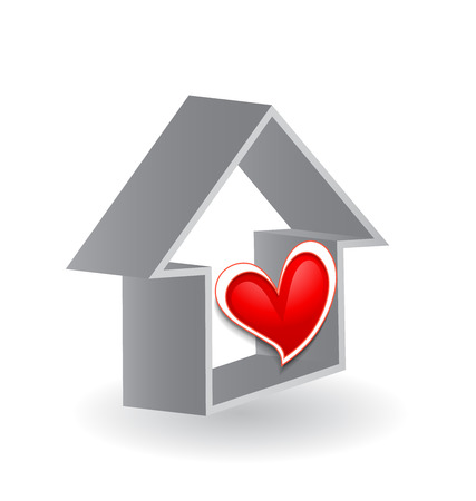 modern house: Sweet house with heart design vector icon