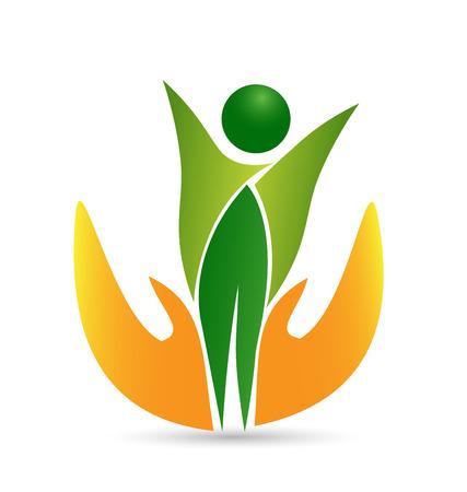 manos logo: Icono de la vida el cuidado de la Salud