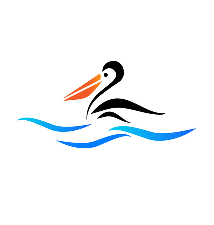 Pelican ptak na plaży wektorowe ikony