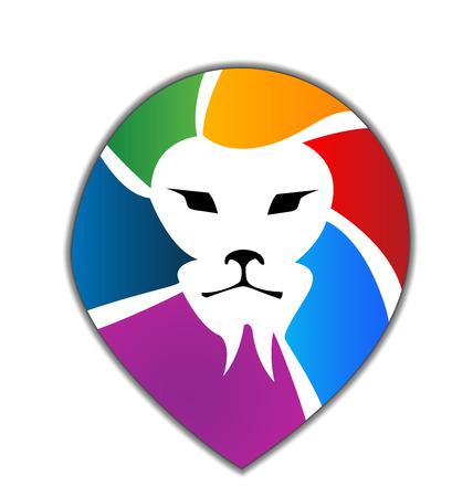 educacion gratis: Le�n icono vector de la silueta de cabeza