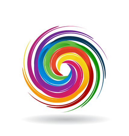 spirals: Palette of colors in a swirly wave vector image icon