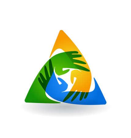 trois: mains Travail d'�quipe autour de logo vecteur color�