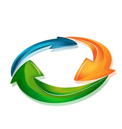 sinergia: Flechas en un moderno icono insignia de la plantilla de diseño web bucle