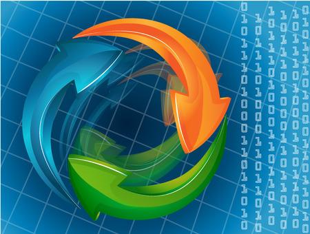 ベクトル青色の矢印のロゴ デザイン web テンプレート