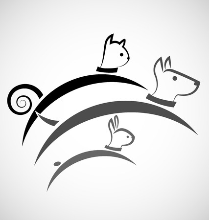 dog ear: Cat dog and rabbit silhouettes vector